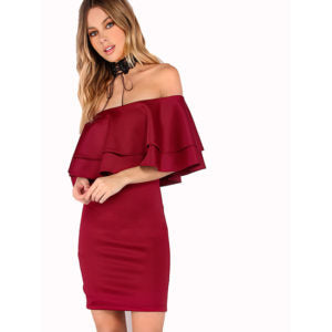 Burgundy Off The Shoulder Layered Ruffle Dress