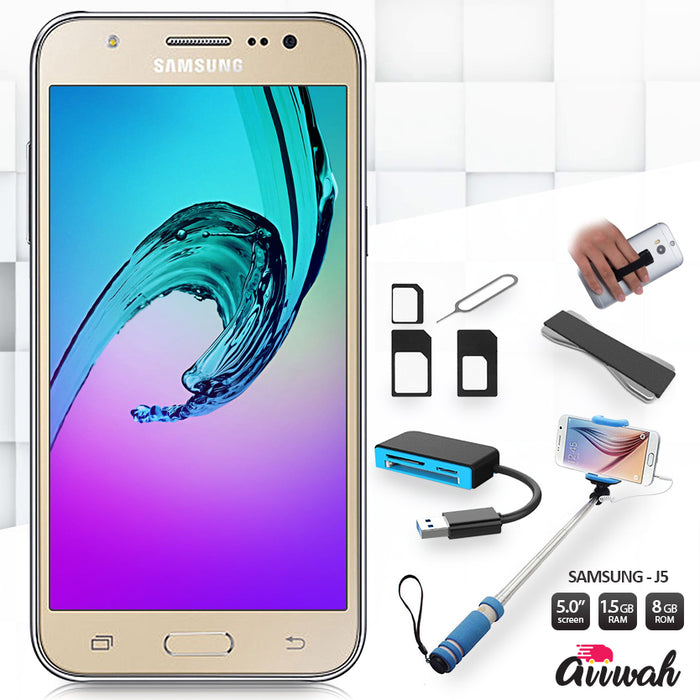 Bundle Samsung Galaxy J5, Card Reader, SIM Adapter, Grip, Selfie Monopod