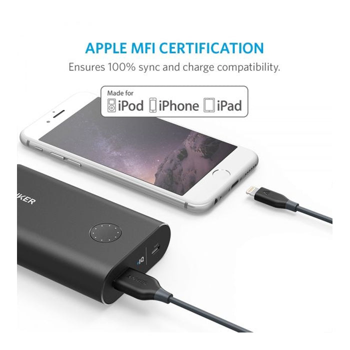 Anker PowerLine Lightning (1ft/0.3m) Apple MFi Certified for iPhone, iPad (Space Gray) - Aiiwah.com