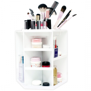 Spinning Makeup Organizer – 360 Rotating Cosmetic Storage Box, Plastic-Aiiwah.com