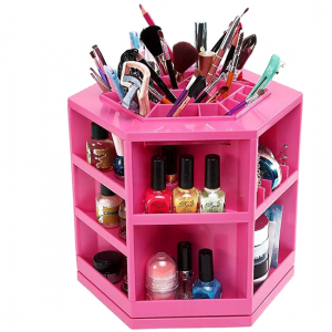 Spinning Makeup Organizer – 360º Rotating Cosmetic Storage Box, Plastic - Pink-Aiiwah.com