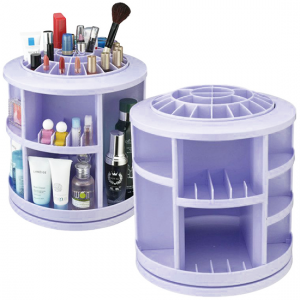 Spinning Makeup Organizer – 360º Rotating Cosmetic Storage Box, Plastic-Lilac-Aiiwah.com