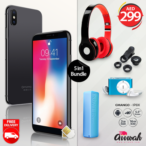 5in1 Bundle Gmango IP8X + Headphone + Lens Kit + MP3 Player + Power Bank - Aiiwah.com