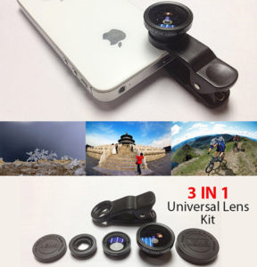 UNIVERSAL 3 IN 1 LENS CELL PHONE LENS KIT-Aiiwah.com