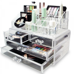 Cosmetic Organizer Drawers Clear Acrylic Jewellery Box Makeup Storage Case-aiiwah.com