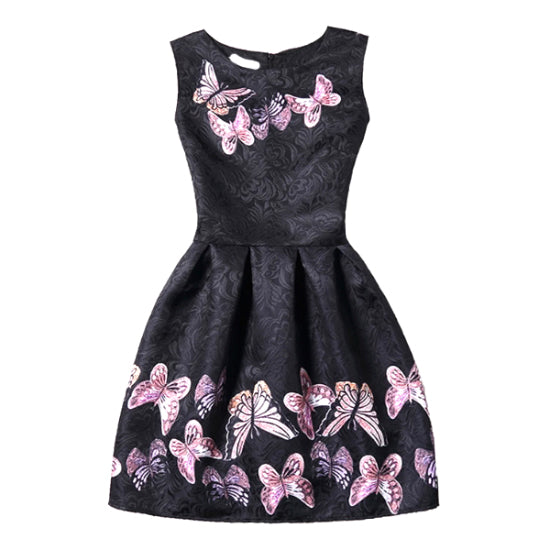 Butterfly Print Fit & Flare Sleeveless Dress