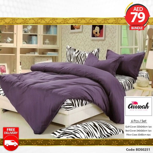 6 Piece Bedding Set-Violet BDS0251 - Aiiwah.com