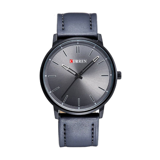 Curren 8233 Round Analog Casual Watch Leather Strap Quartz Movement Men's Wristwatch - Grey-Aiiwah.com