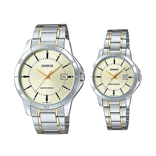 Casio His and Hers Stainless Band Couple watch MTP/LTP-V004SG-9A-Aiiwah.com