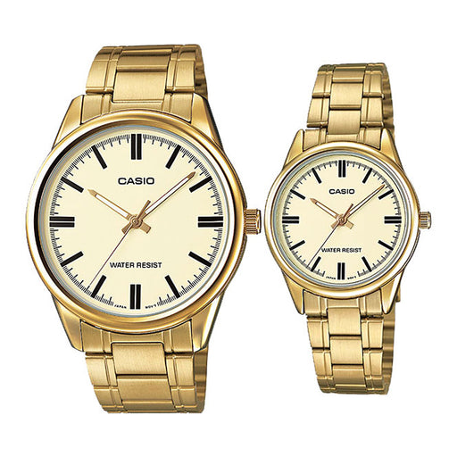 Casio Couple Watch Gold Dial Stainless Steel Band (MTP & LTP-V005G-9A)