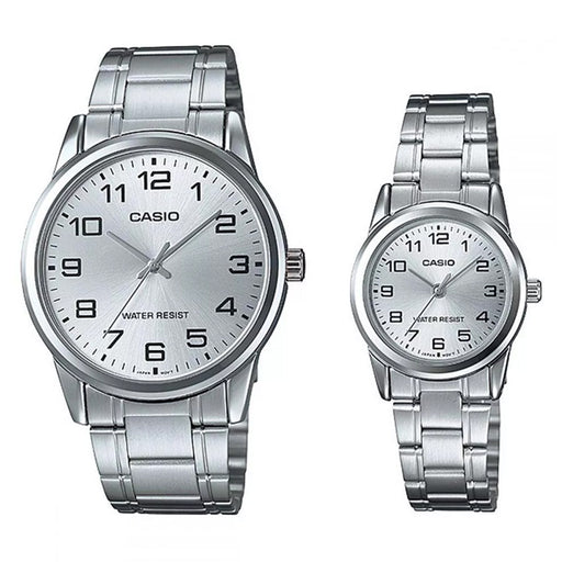 Casio Couple Watch Silver Dial Stainless Steel Band (MTP & LTP-V001D-7B)
