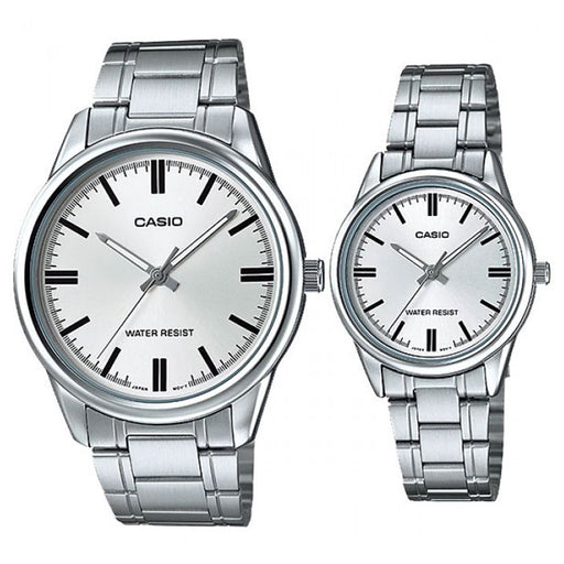 Casio Couple Watch Silver Dial Stainless Steel Band (MTP & LTP-V005D-7A)