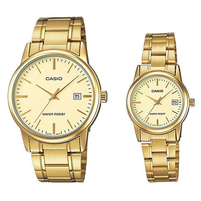 Casio Couple Watch Gold Dial with Date Display  Stainless Steel Band (MTP & LTP-V002G-9A)