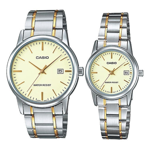 Casio Couple Watch Gold Dial with Date Display Stainless Steel Band (MTP & LTP-V002SG-9A)