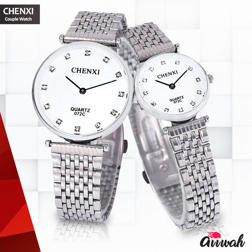 Chenxi Silver Quartz Couple Watch - 072C