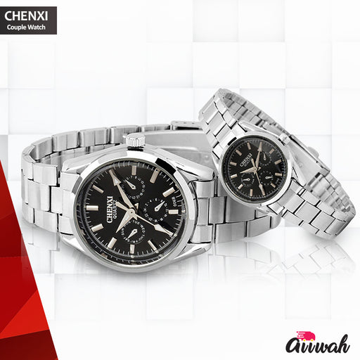 Chenxi Silver Quartz Couple Watch - 019A