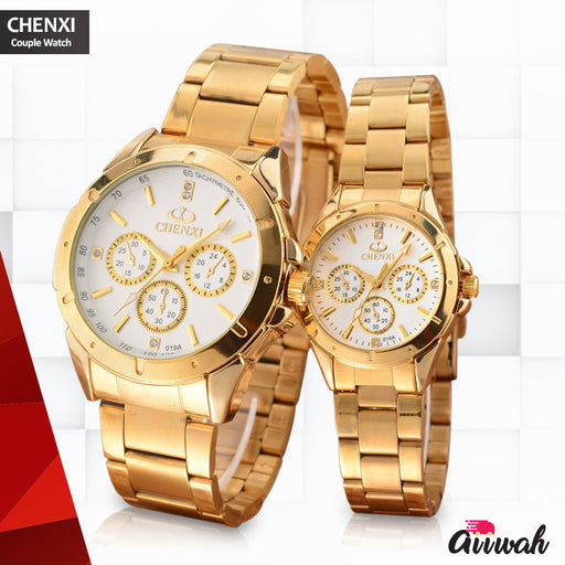 Chenxi Golden Quartz Couple Watch - 019A