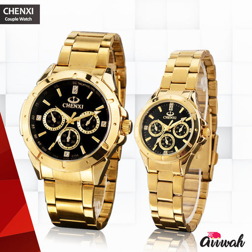 Chenxi Gold & Black Dial Quartz Couple Watch - 019A