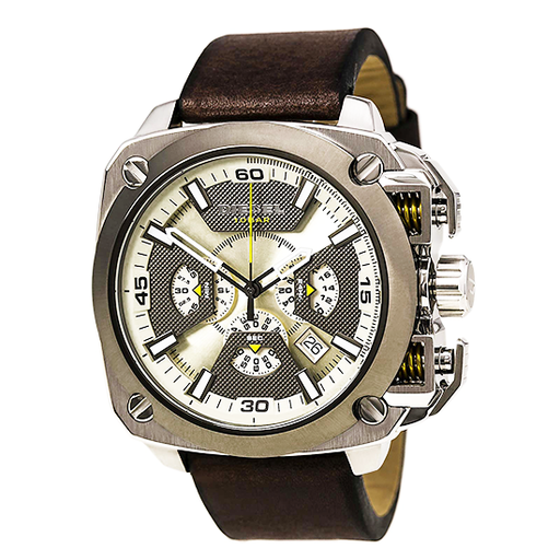 Diesel DZ7343 Men's BAMF Chronograph Grey & Beige Dial Brown Leather Strap Watch-Aiiwah.com