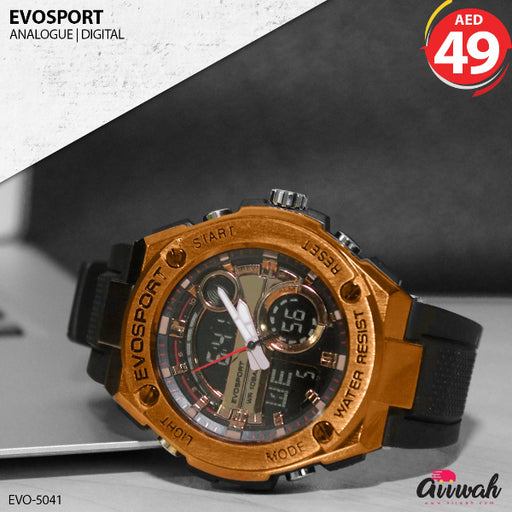 Evosport Analogue Gold Color Digital Men's Watch - EVO-5041 - Aiiwah.com