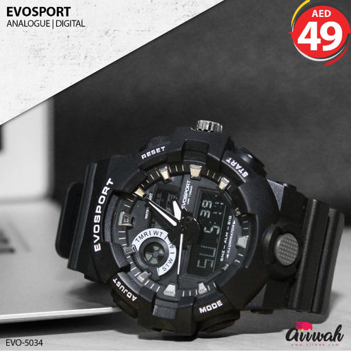 Evosport Analogue Black Color Digital Men's Watch - EVO-5034-Aiiwah.com