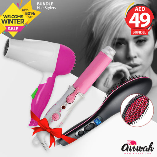 Hair Styler Bundle - Hair Dryer + Hair Curler + Hair Brush Straightener - Aiiwah.com