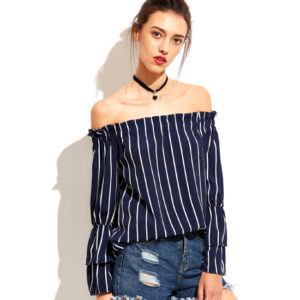Vertical Striped Tiered Bell Sleeve Bardot Top