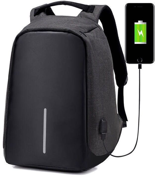Anti Theft Back Pack with USB Charging Port - Black - Aiiwah.com