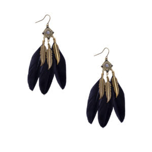 Black Retro Leaf Feather Drop Earrings - Aiiwah.com