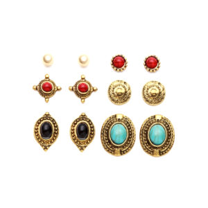 Antique Gold Carved Gemstone Stud Earrings Set - Aiiwah.com