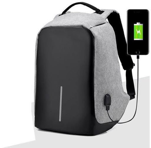 Anti Theft Back Pack with USB Charging Port - Grey - Aiiwah.com