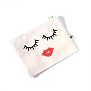 AOA Canvas Pouch- Lips & Lashes - Aiiwah.com