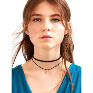 Black Faux Leather Crystal Choker Double Layered Necklace - Aiiwah.com