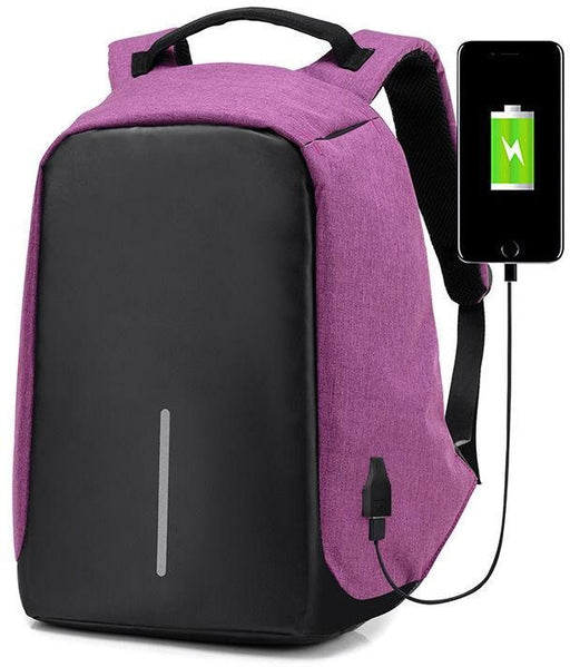 Anti Theft Back Pack with USB Charging Port - Pink - Aiiwah.com