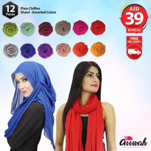 12 Pcs Plain Chiffon Shawl For Womens - Aiiwah.com