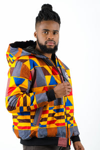 Mens - Big Kente Hoodie Bomber Jacket