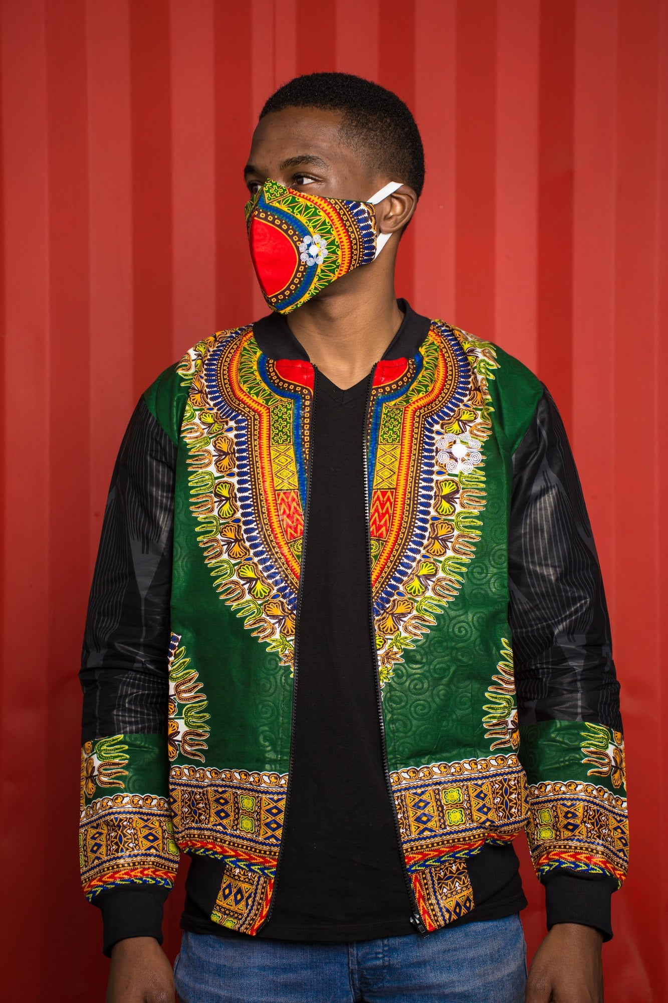 Mens - Green Dashiki Summer | Luxe Edition | Bomber Jacket