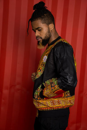 Mens - Black Dashiki Summer | Luxe Edition | Bomber Jacket