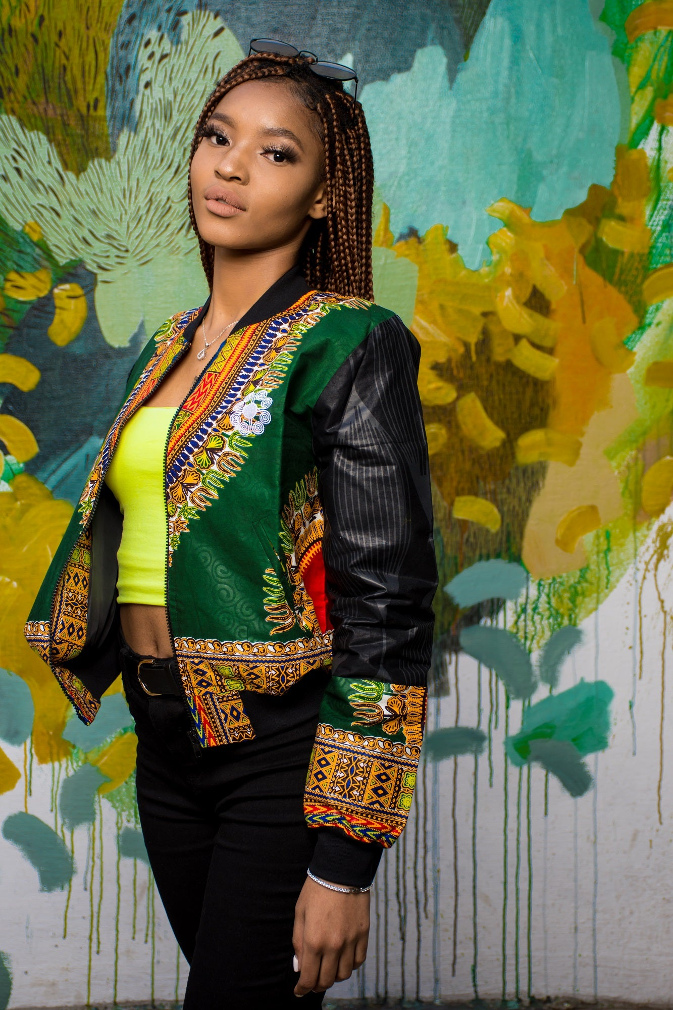 Ladies - Green Dashiki Summer | Luxe Edition | Bomber Jacket
