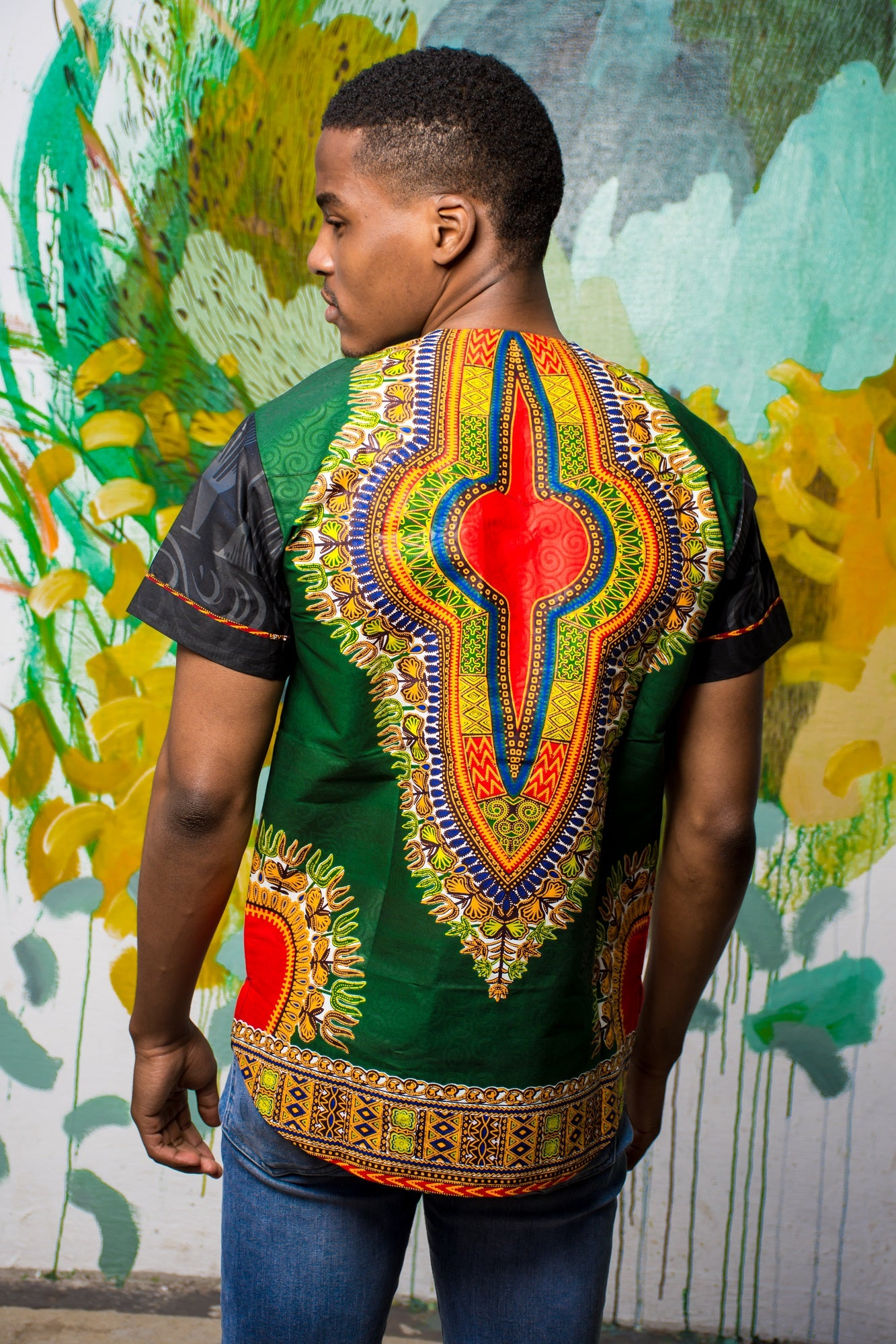 Mens - Green Dashiki | B-Sleeve | T-Shirt