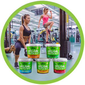 BodyMe Organic Vegan Protein Bites Woman With Kettle Bell