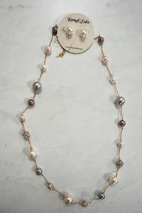 R&L Pearl Earring/Necklace Set