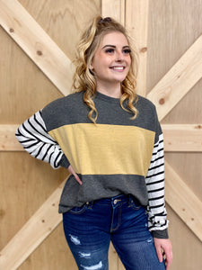 Grey, Mustard & Stripe Top