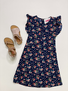 KIDS Navy Button Floral Dress
