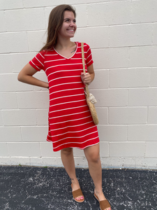 Red & White Stripe Dress
