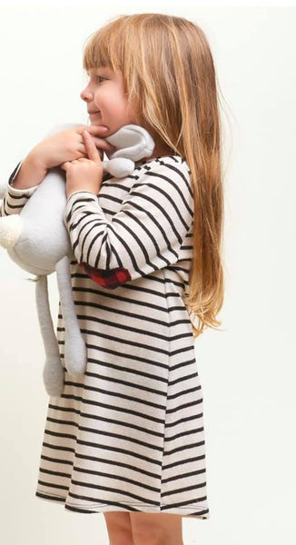 KIDS striped dress with plaid patches