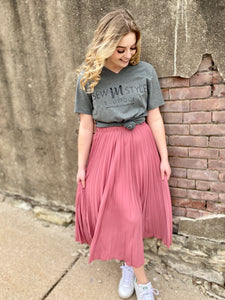 Mauve Pleated Skirt
