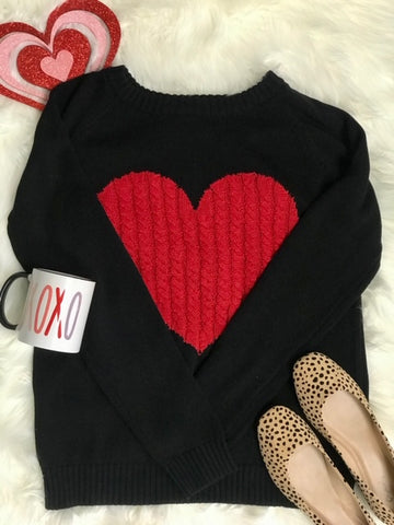 Black beauty sweater with Red Hot heart