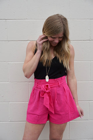 Hot Pink Paper Bag Shorts