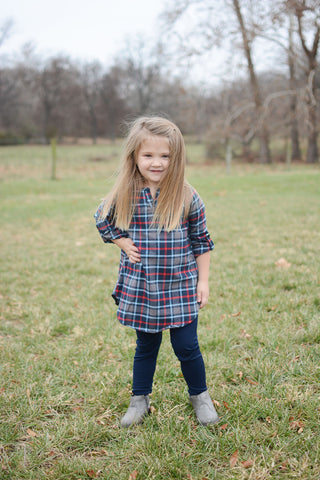 KIDS Navy Plaid Tunic